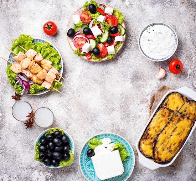 Assortment of traditional greek dishes Premium Photo