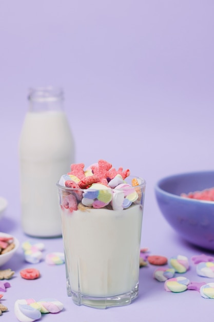 Assortment with glass and bottle of milk Free Photo