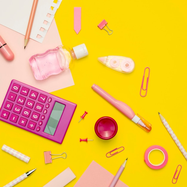 Assortment with school supplies Free Photo