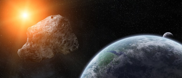 Asteroids threat over planet earth Premium Photo