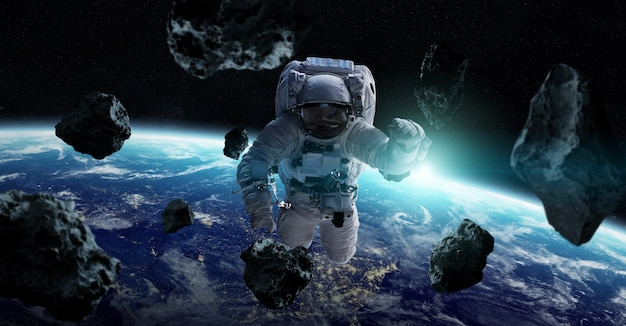 Astronaut floating in space 3d rendering elements Premium Photo