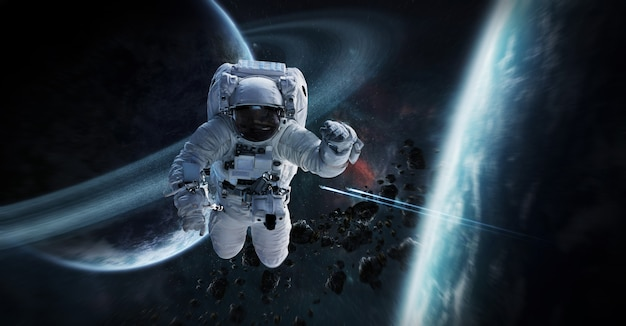 Astronaut floating in space 3d rendering elements Premium Photo