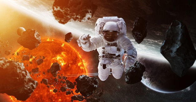 Astronaut floating in space 3d rendering Premium Photo