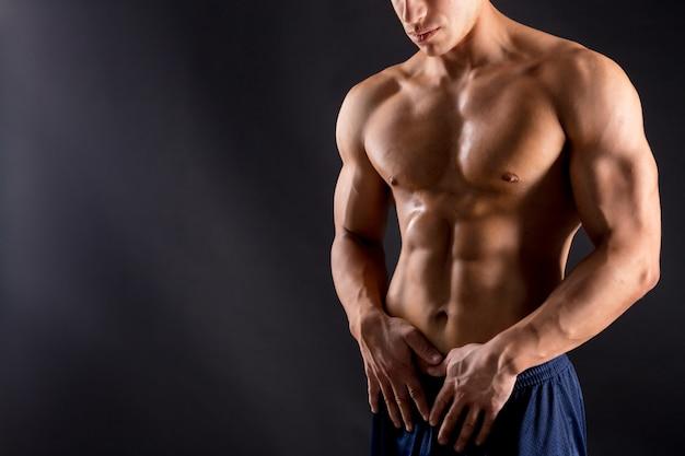 Athletic man fitness model torso Premium Photo