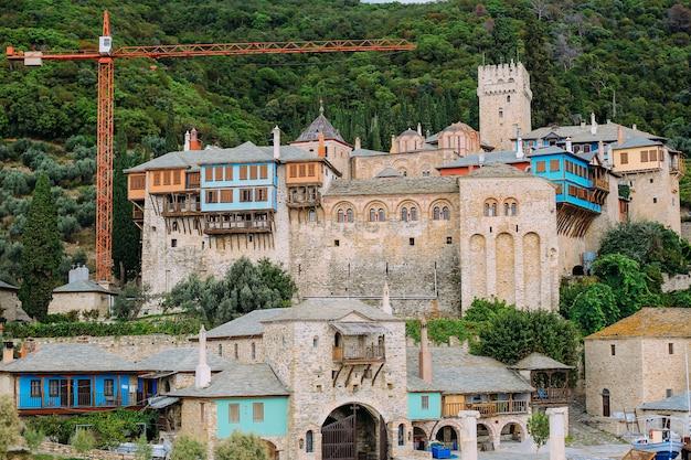 Athos peninsula, greece.view from a ferry. orthodox monasteries, mountains Premium Photo