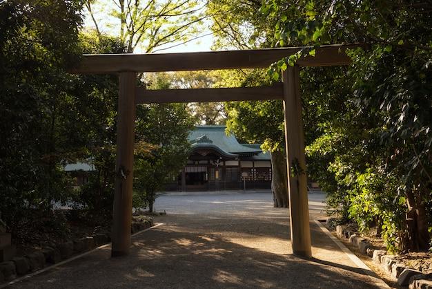 Atsuta shrine and torii gate at sunset, nagoya Premium Photo