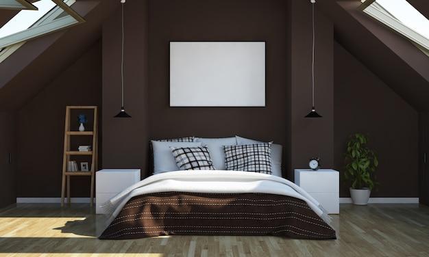 포스터 이랑 다락방 침실 프리미엄 사진