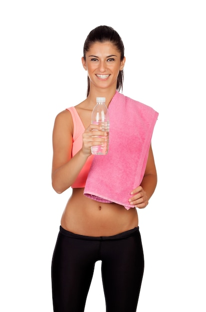Attractive brunette girl drinking water during training the isolated on a white background Premium Photo
