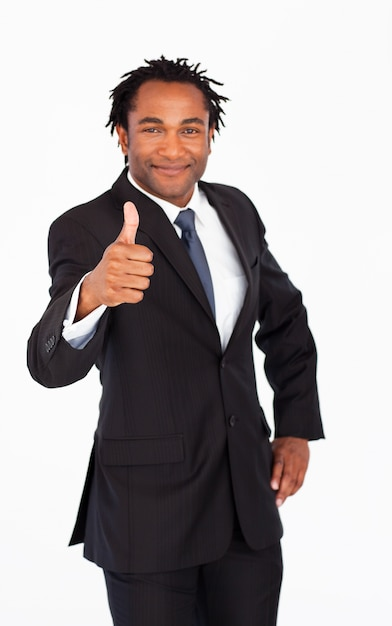 Attractive businessman showing thumb up Premium Photo
