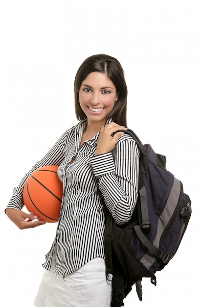 Attractive student with bag and basketball ball Premium Photo