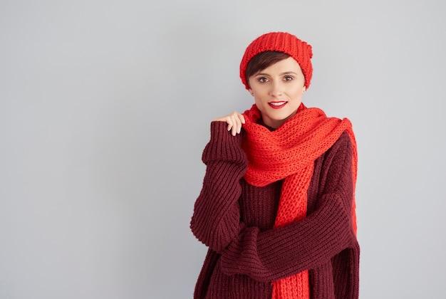 冬服の魅力的な女性 無料写真