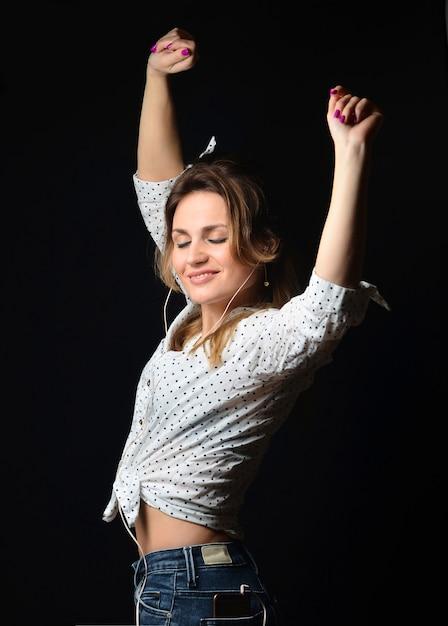 Woman Listening to Music Using White Headphones · Free ... |Woman Listening To Music