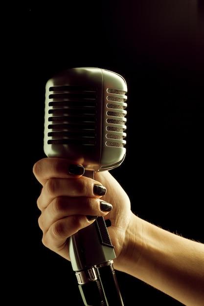 Audio microphone retro style Premium Photo