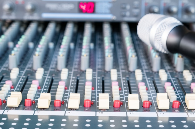 Audio sound mixer music. adjist sound by volume. Premium Photo