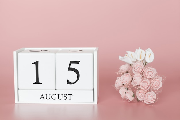 August 15th. day 15 of month. calendar cube on modern pink background, concept of bussines and an importent event. Premium Photo