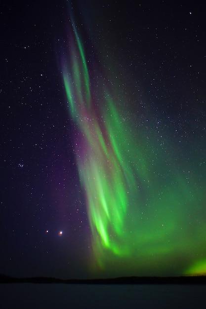 북극광. 오로라 밤 사진 북극권 프리미엄 사진