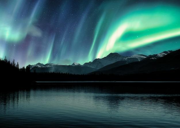 오로라 보레 알리스, 캐나다 로키 산맥의 오로라 프리미엄 사진