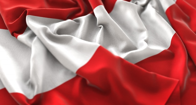 Austria flag ruffled beautifully waving macro close-up shot Free Photo