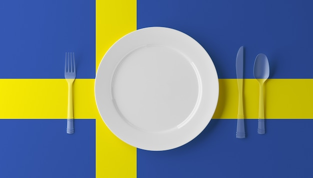 Authentic cuisine of sweden. plate with swedish flag and cutlery. 3d illustration. Premium Photo