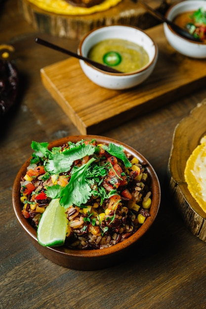 Authentic mexican rice mix with rice berry Premium Photo