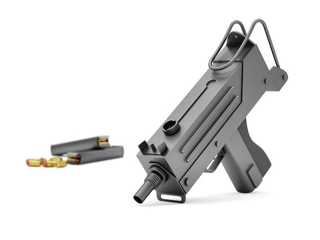 Автоматический 9-мм пулемет с изолированными держателями Premium Фотографии
