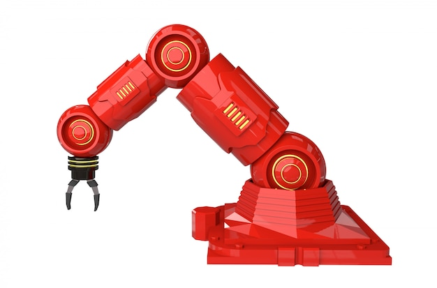 Automation industry concept with 3d rendering robot arms Premium Photo