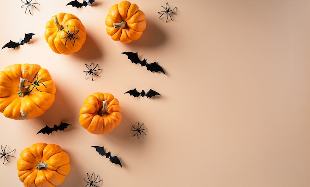 Осенний фон декор с тыквами Premium Фотографии