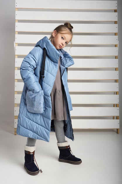 Autumn collection of clothes for children and teenagers. jackets and coats for autumn cold weather Premium Photo