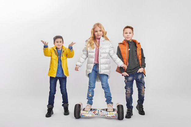 Autumn collection of warm clothes for children Premium Photo