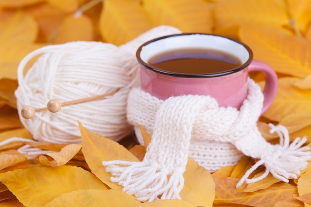 Autumn composition cup of tea wrapped in a scarf seasonal morning tea  still life concept Premium Photo