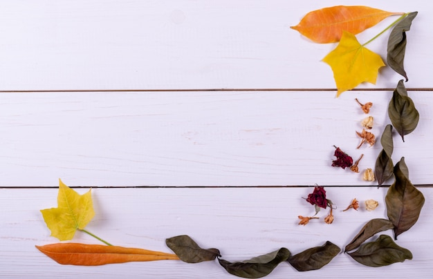 Autumn concept.top view. frame made of dried flower, dried leaves Premium Photo