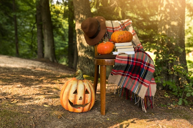 Autumn concept with carved out pumpkin Free Photo