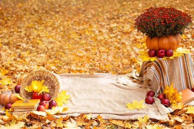 Autumn decoration with flowers, maple leaves, red apples, pumpkin, blanket and old books Premium Photo