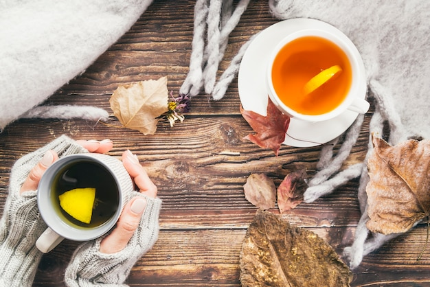 Autumn drinks and scarf on table Free Photo