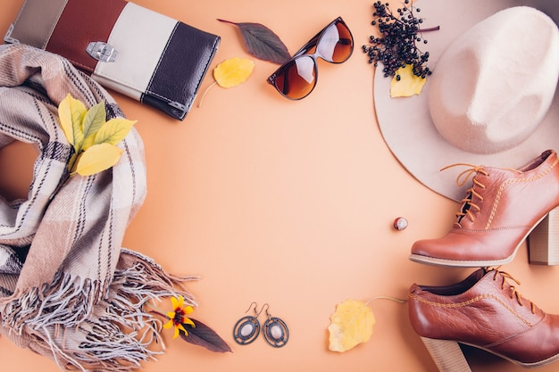 Autumn female outfit set of clothes, shoes and accessories Premium Photo