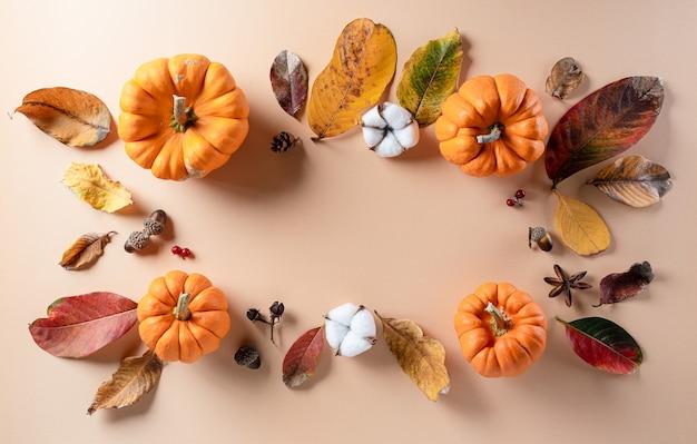 乾燥した葉、コピースペースのある綿の花から秋のフラットレイの装飾 Premium写真