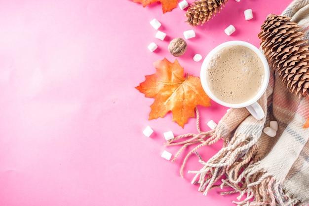 Autumn flatlay with cappuccino or hot chocolate Premium Photo