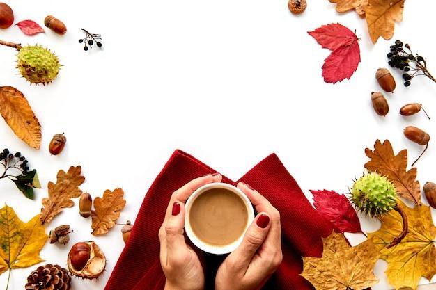 乾燥した葉と食材で作られた秋のフレーム Premium写真