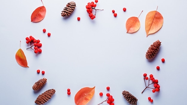 Autumn frame with leaves, rowan berries, orange pumpkins, pine cones on pastel background Premium Photo