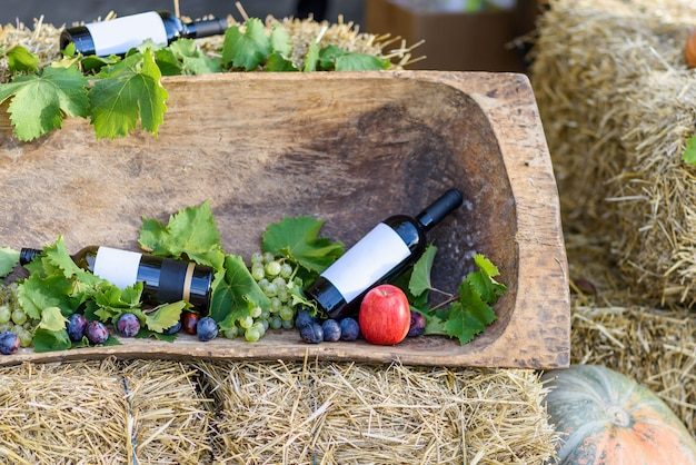 Autumn Harvest Wine Grape And Fruits Decorations With Hay