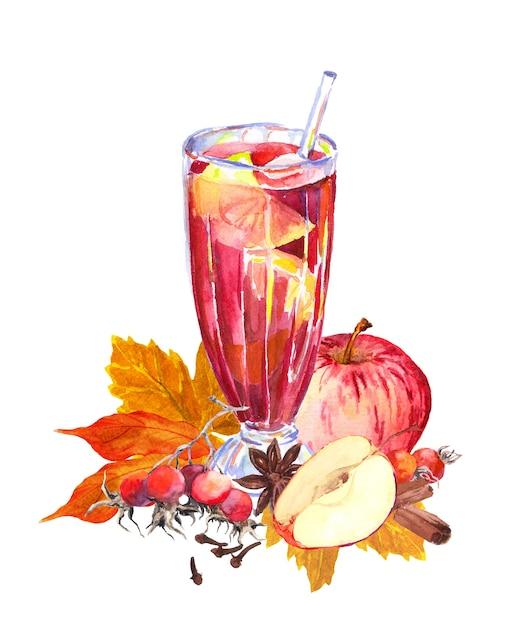 リンゴ、ベリー、スパイシー、秋の紅葉と秋のホットドリンク。ティータイムの水彩画 Premium写真