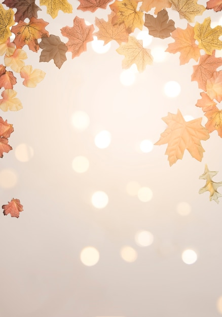 Autumn maple leaves scattered on bright surface Free Photo