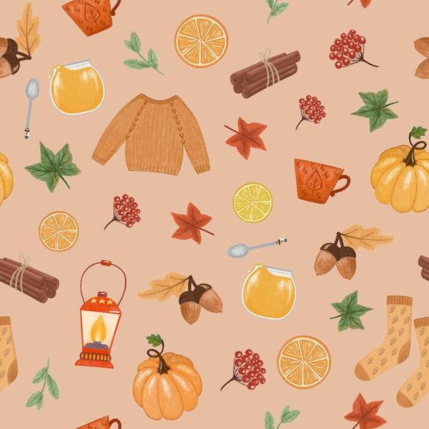 秋の気分シームレスパターン Premium写真