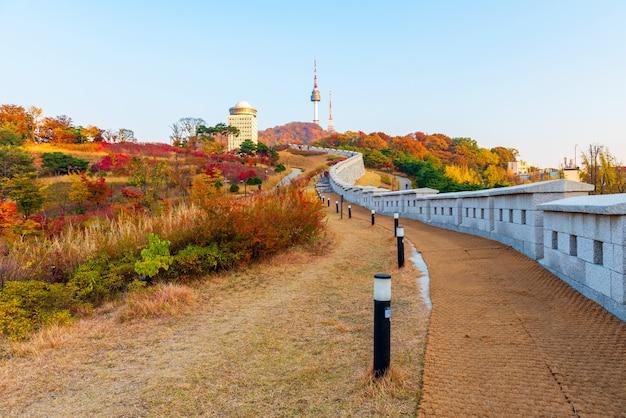 Autumn of namsan tower in seoul,south korea Premium Photo