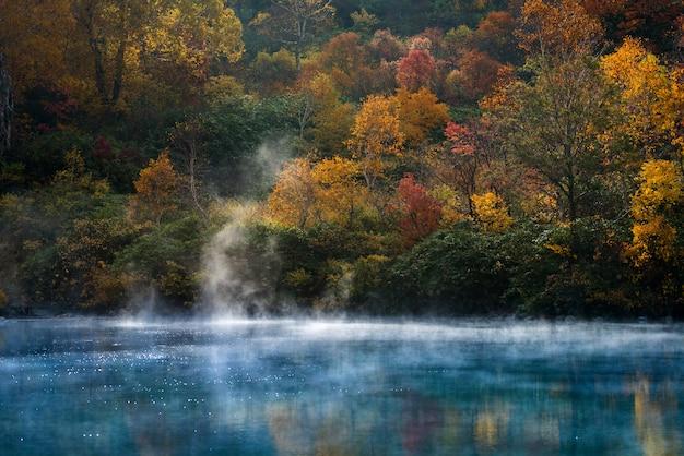 Autumn onsen lake aomori japan Premium Photo