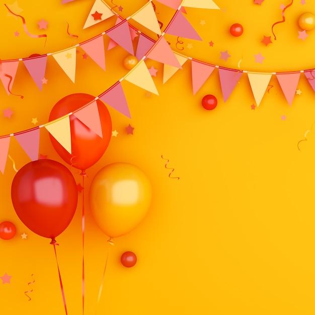オレンジ色の風船とホオジロガーランドフラグと秋やハロウィーンの背景の装飾 Premium写真