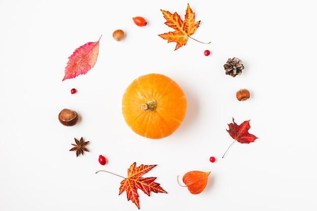 秋の葉、花、カボチャ、ナッツと秋のまたは感謝祭の背景 Premium写真
