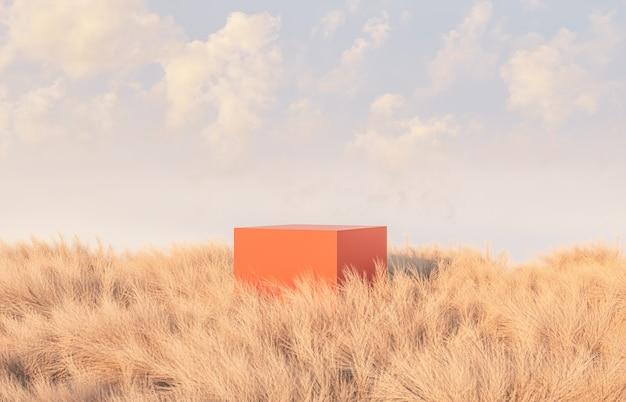 Осенняя сцена с подиумом в поле Premium Фотографии