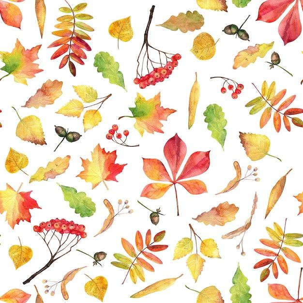 秋のシームレスなパターン。水彩画の葉。 Premium写真