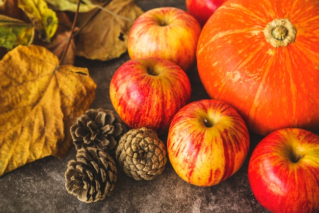 Autumn set with dried leaves and apples Free Photo